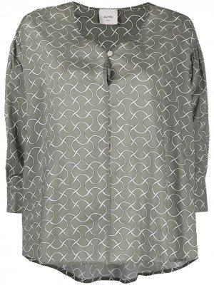 Расклешенная блузка с геометричным узором Alysi. Цвет: зеленый