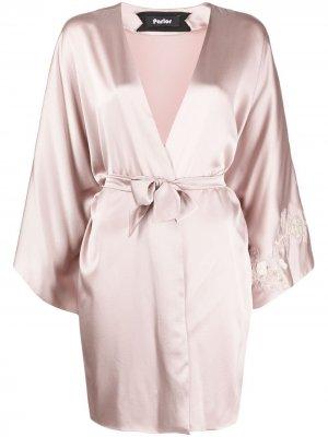 Халат с цветочной вышивкой Parlor. Цвет: розовый