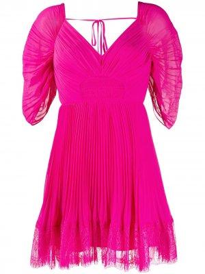 Платье мини с кружевной отделкой Self-Portrait. Цвет: розовый