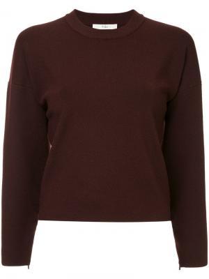 Пуловер на молнии Tibi. Цвет: красный