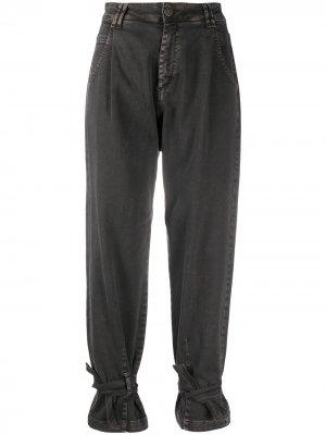 Зауженные джинсы с манжетами Federica Tosi. Цвет: серый