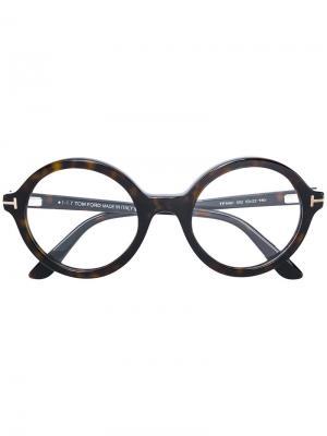 Очки в круглой оправе Tom Ford Eyewear. Цвет: коричневый
