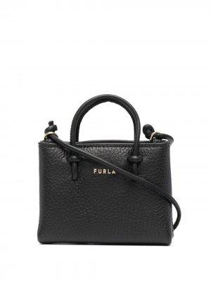 Мини-сумка из зернистой кожи Furla. Цвет: черный