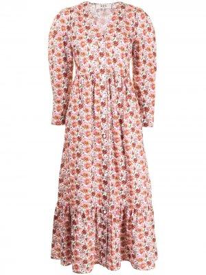Платье Leslie с цветочным принтом Sea. Цвет: красный