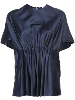 Плиссированная блузка с круглым вырезом Vionnet. Цвет: синий