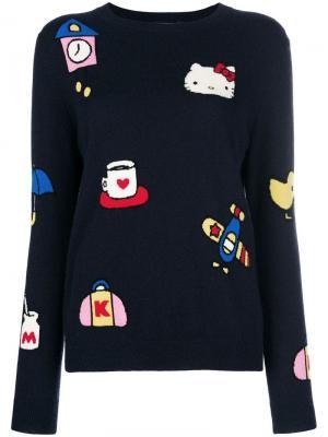 Cashmere Hello Kitty patch sweater Chinti & Parker. Цвет: синий