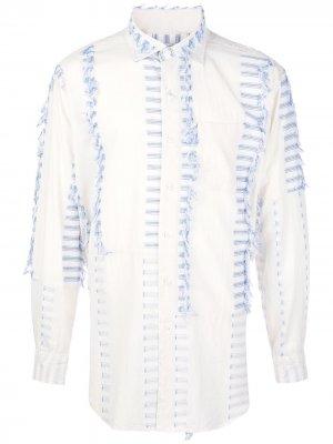 Полосатая рубашка с бахромой Engineered Garments. Цвет: белый