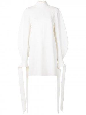 Длинное платье мини с объемными рукавами и завязками Carolina Herrera. Цвет: белый