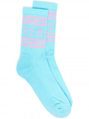 Носки с логотипом Versace. Цвет: синий