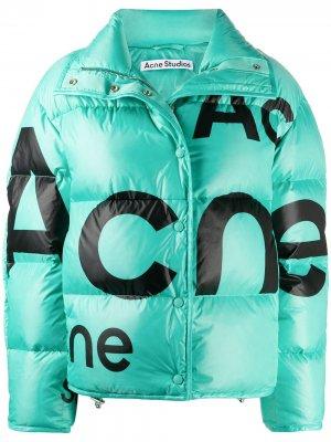 Пуховик с логотипом Acne Studios. Цвет: синий