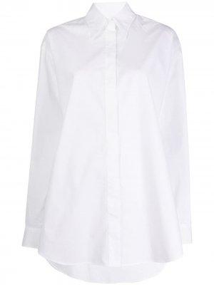 Рубашка с принтом и асимметричным подолом MM6 Maison Margiela. Цвет: белый