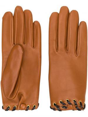 Перчатки со шнуровкой Agnelle. Цвет: коричневый