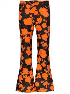 MarquesAlmeida укороченные расклешенные брюки с цветочным принтом Marques'Almeida. Цвет: черный