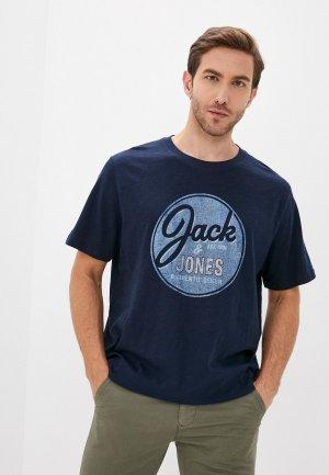 Футболка Jack & Jones. Цвет: синий