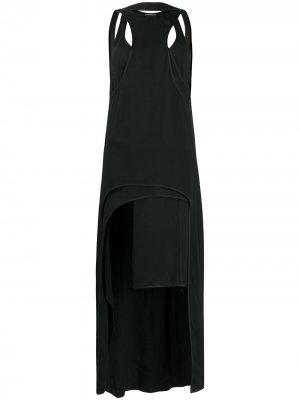 Многослойное платье с вырезами Ann Demeulemeester. Цвет: черный