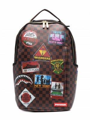 Рюкзак Travel с нашивками sprayground kid. Цвет: коричневый