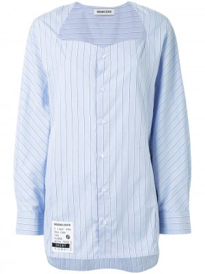 Полосатая рубашка без воротника Ground Zero. Цвет: синий