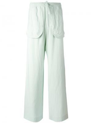 Прямые брюки с карманами Qasimi. Цвет: зеленый