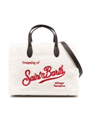 Сумка-тоут с вышитым логотипом Mc2 Saint Barth Kids. Цвет: белый