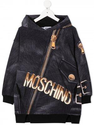 Платье с принтом и капюшоном Moschino Kids. Цвет: черный