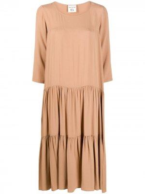 Ярусное платье миди Semicouture. Цвет: коричневый