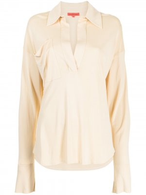 Рубашка оверсайз с драпировкой Manning Cartell. Цвет: желтый