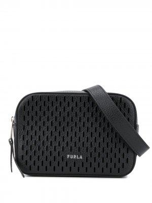 Поясная сумка с перфорацией Furla. Цвет: черный