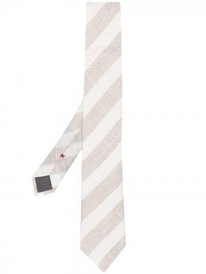 Полосатый галстук с заостренным концом Brunello Cucinelli. Цвет: нейтральные цвета