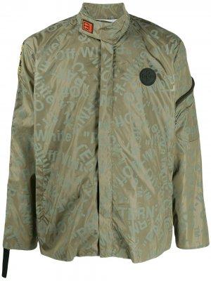 Куртка с логотипом Off-White. Цвет: зеленый