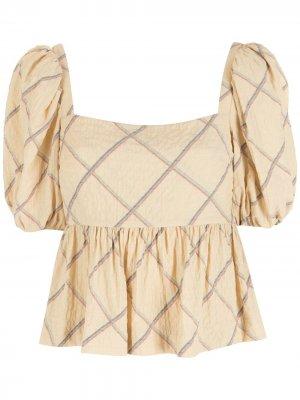 Блузка с пышными рукавами и принтом Nk. Цвет: желтый