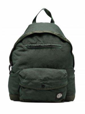 Рюкзак на молнии с нашивкой-логотипом Stone Island Junior. Цвет: зеленый