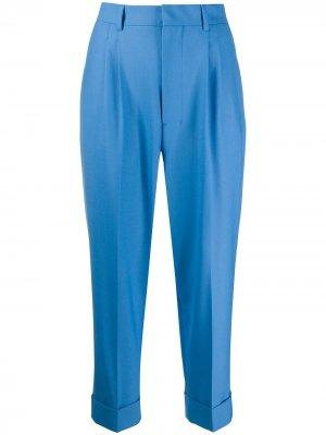 Укороченные зауженные брюки AMI Paris. Цвет: синий