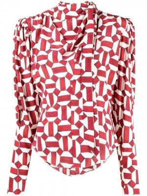 Блузка с геометричным принтом и воротником-хомутом Isabel Marant. Цвет: красный