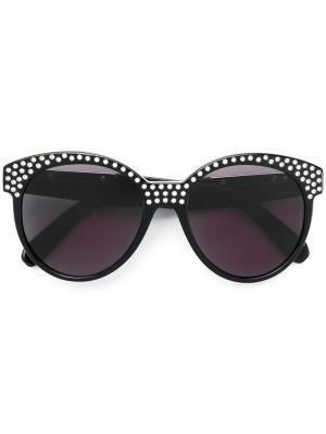 Солнцезащитные очки с кристаллами Philipp Plein. Цвет: черный