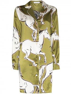 Ночная сорочка Poppy Chevalier с принтом Olivia von Halle. Цвет: зеленый