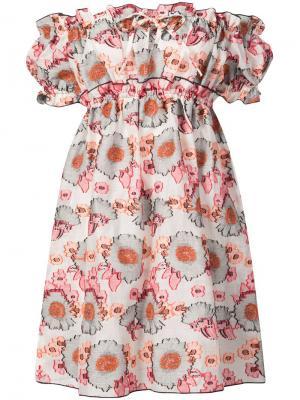 Платье с жаккардовым узором из подсолнухов Anna Sui. Цвет: белый
