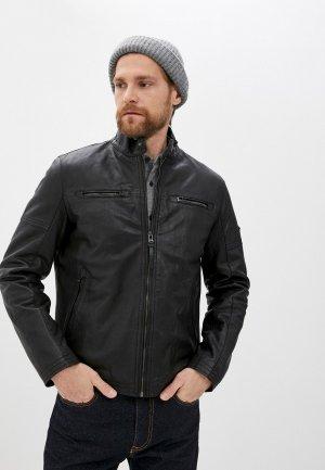 Куртка кожаная Daniel Hechter. Цвет: черный