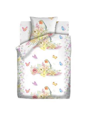 Комплект постельного белья 1,5 бязь Птичка 4you. Цвет: белый, желтый
