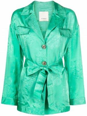 Платье-рубашка с цветочным принтом Pinko. Цвет: зеленый