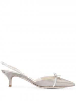 Туфли с заостренным носком и бантом René Caovilla. Цвет: серый