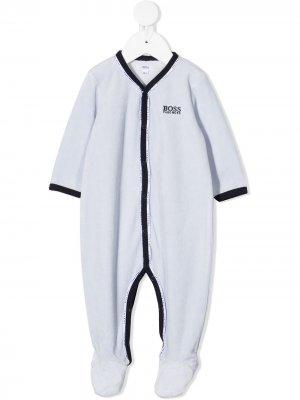 Боди с логотипом BOSS Kidswear. Цвет: синий