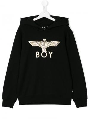 Толстовка с капюшоном и логотипом Boy London Kids. Цвет: черный
