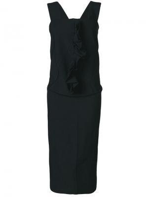 Платье на лямках с декором из оборок Comme Des Garçons. Цвет: черный
