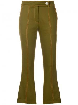 Укороченные расклешенные брюки MSGM. Цвет: зеленый