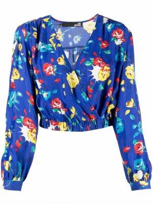 Блузка с цветочным принтом и V-образным вырезом Love Moschino. Цвет: синий