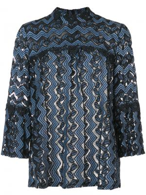 Кружевная блузка с узором зигзаг Anna Sui. Цвет: чёрный
