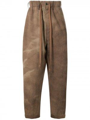 Пижамные брюки с принтом тай-дай Uma Wang. Цвет: коричневый