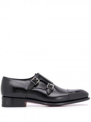 Туфли монки Santoni. Цвет: черный