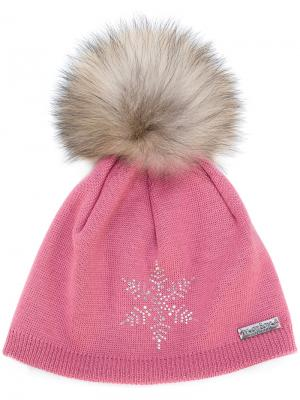 Шапка со снежинкой и помпоном Norton. Цвет: розовый и фиолетовый