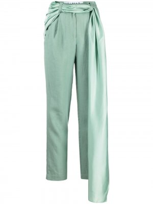 Прямые брюки с декоративным платком Almaz. Цвет: зеленый
